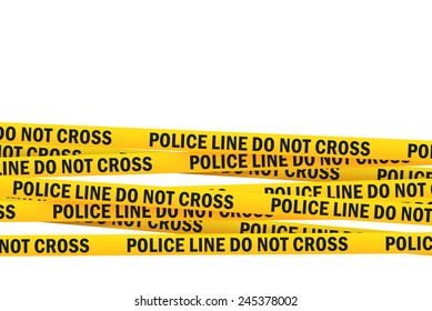 Police Line Do Not Cross Yellow Headband Tape isolated on white Background with Clipping PAth