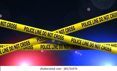 Police Line Do not Cross - red and blue light on crime scene