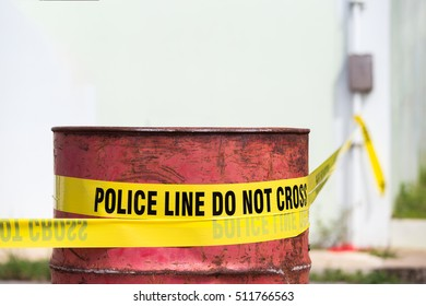 police line do not cross with red barrel to protection crime scene  with copy space