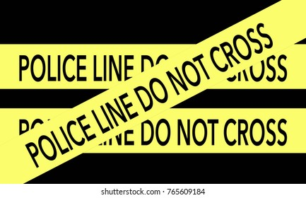 Police line do not cross yellow tape on back background.