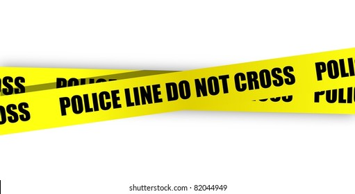 Police line do not cross. Yellow tape isolated on white background.