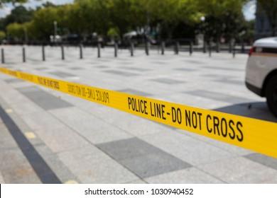 Police line tape, Washington DC, USA