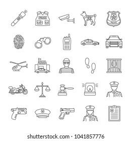 Police linear icons set. Law enforcement. Transport, protection equipment, weapon. Thin line contour symbols. Isolated raster outline illustrations