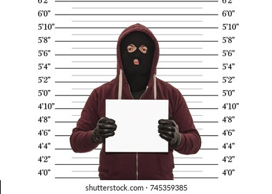 Police lineup or mugshot concept with a burglar or thief wearing a ski mask or balaclava and holding a blank white cardboard with copy space against a size chart in imperial units with clipping path