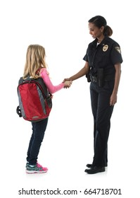 Police: Little Girl Student Shakes Hands With Policewoman