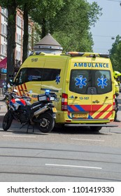 Police Motor And Ambulance At Amsterdam The Netherlands 2018