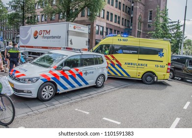 Police Motor And Ambulance And Police Car At Amsterdam The Netherlands 2018