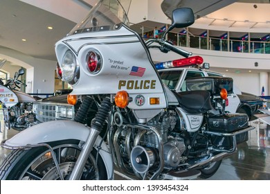Police motorcycle used to escort the presidential motorcade at Ronald Reagan Presidential Library and Museum - Simi Valley, California, USA - April 19, 2019