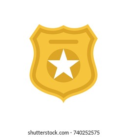 Police officer badge symbol. Icon of law order protection. Golden badge with star. Raster Illustration