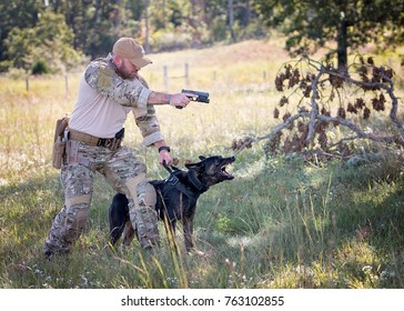 Police officer and dog training on apprehension