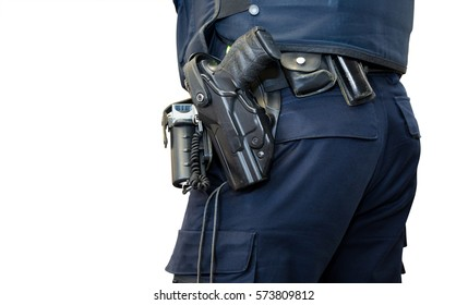 Police officer, with gun belt, handcuffs  gun and pepper-spray