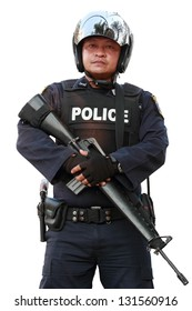 Police officer is holding rifle on white background