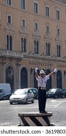 Police Officer On Traffic Duty, Rome, Italy