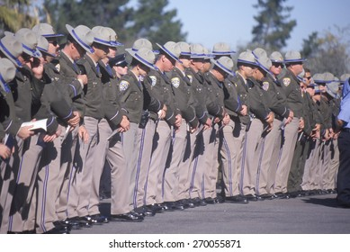 Police officers at funeral ceremony, Pleasanton, California