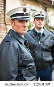 Police officers with a serious face