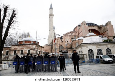 Police officers stands outside of Hagia Sophia Museum during a protest in Istanbul, Turkey on Jan. 6, 2019