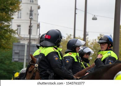 Police On Horses At Amsterdam The Netherlands 2019