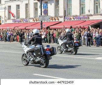 """Police on motorcycles. St. Petersburg, Russia - 9 May, 2016. Memory Action """"Immortal regiment"""" in St. Petersburg."""
