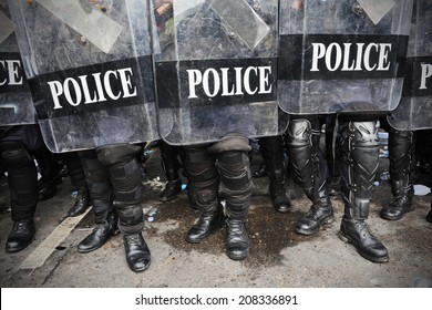 Police in Riot Gear Background