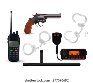 Police set: Handcuffs, revolver, baton, portable and car radio transceiver. Isolated on white background. Raster version