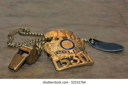 Police Shield and Whistle