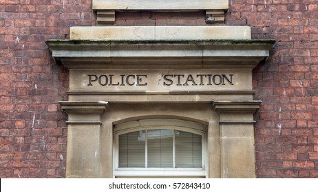 Police Station Carved In Stone Capital Letters Vintage horizontal photography
