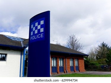 A police station in cloudy weather
