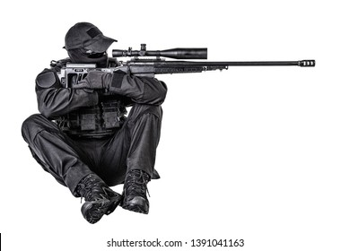 Police SWAT sniper shooting in sitting position