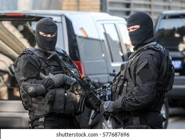 Police SWAT team members during arrest action