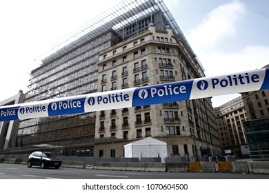 Police tape across street close a road near the European Council building in Brussels, Belgium on May 24, 2017