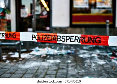 Police tape at the crime scene. Germany.