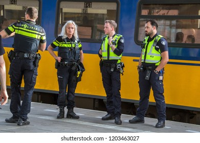 Police At Work At The Train Station Of Amesfoort The Netherlands 2018