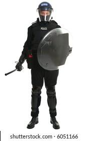 Policeman in full riot gear