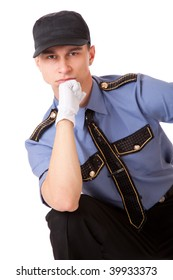 Policeman. Isolated on a white background