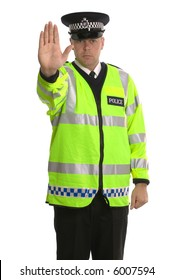 Policeman in reflective jacket ordering you to STOP.