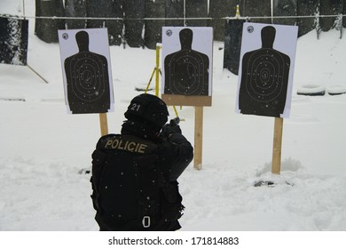 Policeman special unit headed to the shooting range target