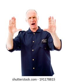 Policeman stopping with hand gesture