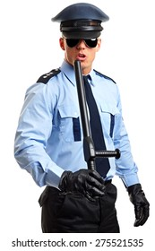 Policeman in sunglasses holds nightstick on white background