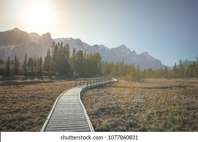 Policeman's creek walkway and Rundle mountain during the late afternoon, Canmore, Canada