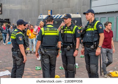 Policemen At The Around The Johan Cruijff Arena Stadium At Amsterdam The Netherlands 2018