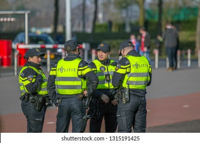 Policemen Before Before The Ajax Match At Amsterdam The Netherlands 2019