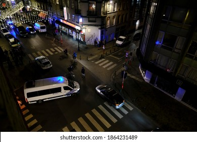 Policemen blocked a suspicious van during a police operation in central Brussels, Belgium on Nov. 28, 2020.