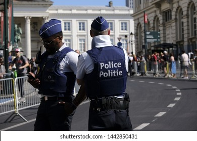 Policemen secure the area during the teams presentation two days ahead of the 106th edition of the Tour de France cycling race in Brussels, Belgium on July 4, 2019.