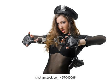 policewoman with handcuffs in a black uniform. isolated on white