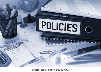 Policies / Business concept with file on office desk