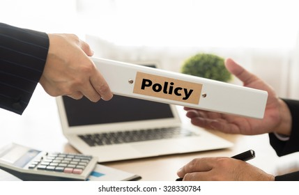 policy concept. business woman sent policy document to manager.