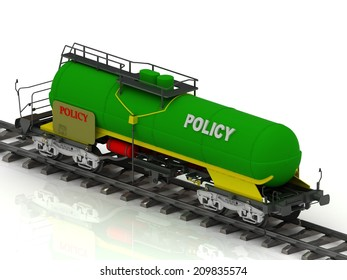POLICY inscription on green railway wagon on white background