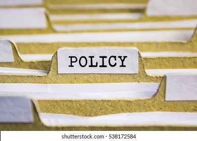 Policy word on card index paper