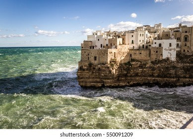 Polignano a Mare, the amazing village on the rocks, along the seaside in Puglia, south of Italy