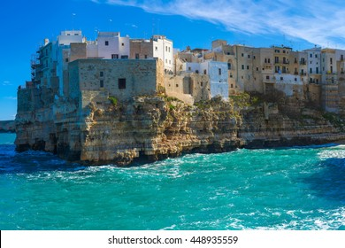 Polignano a Mare (BARI) panorama sea landscape of city on cliffs: heaven on earth